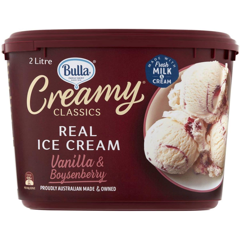 Bulla Creamy Classics Ice Cream Vanilla & Boysenberry, 2 Litre