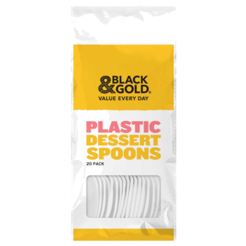 Black & Gold Plastic Dessert Spoons White, 20 Each