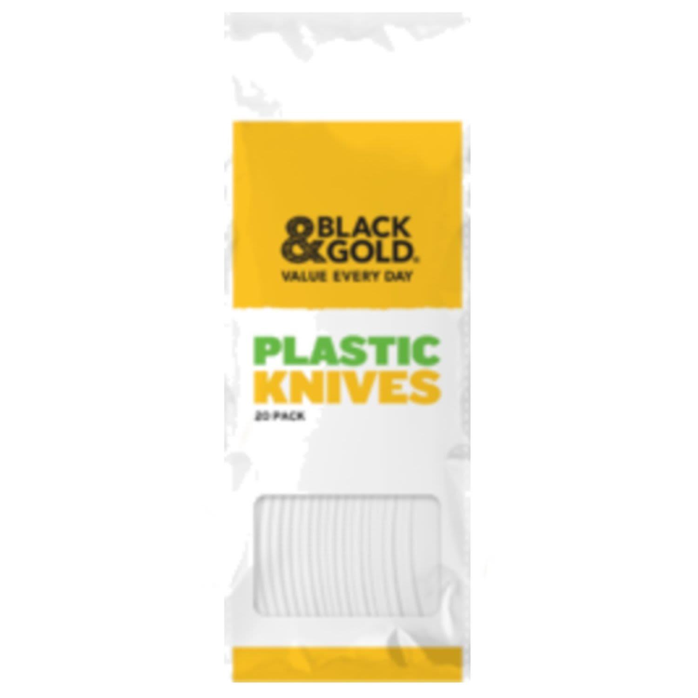Black & Gold Plastic Knife White, 20 Each