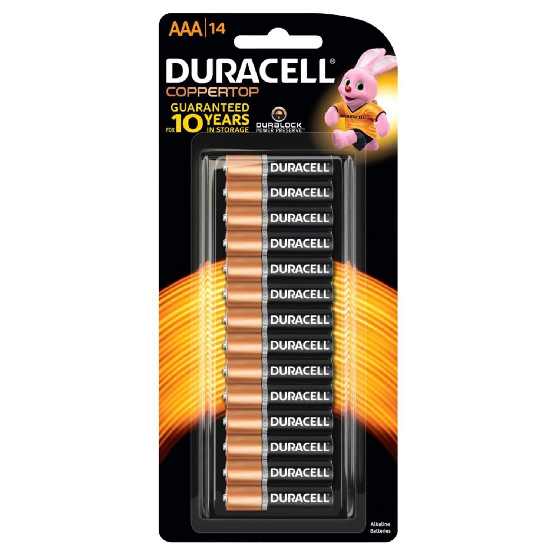 Duracell Coppertop Batteries AAA, 14 Each