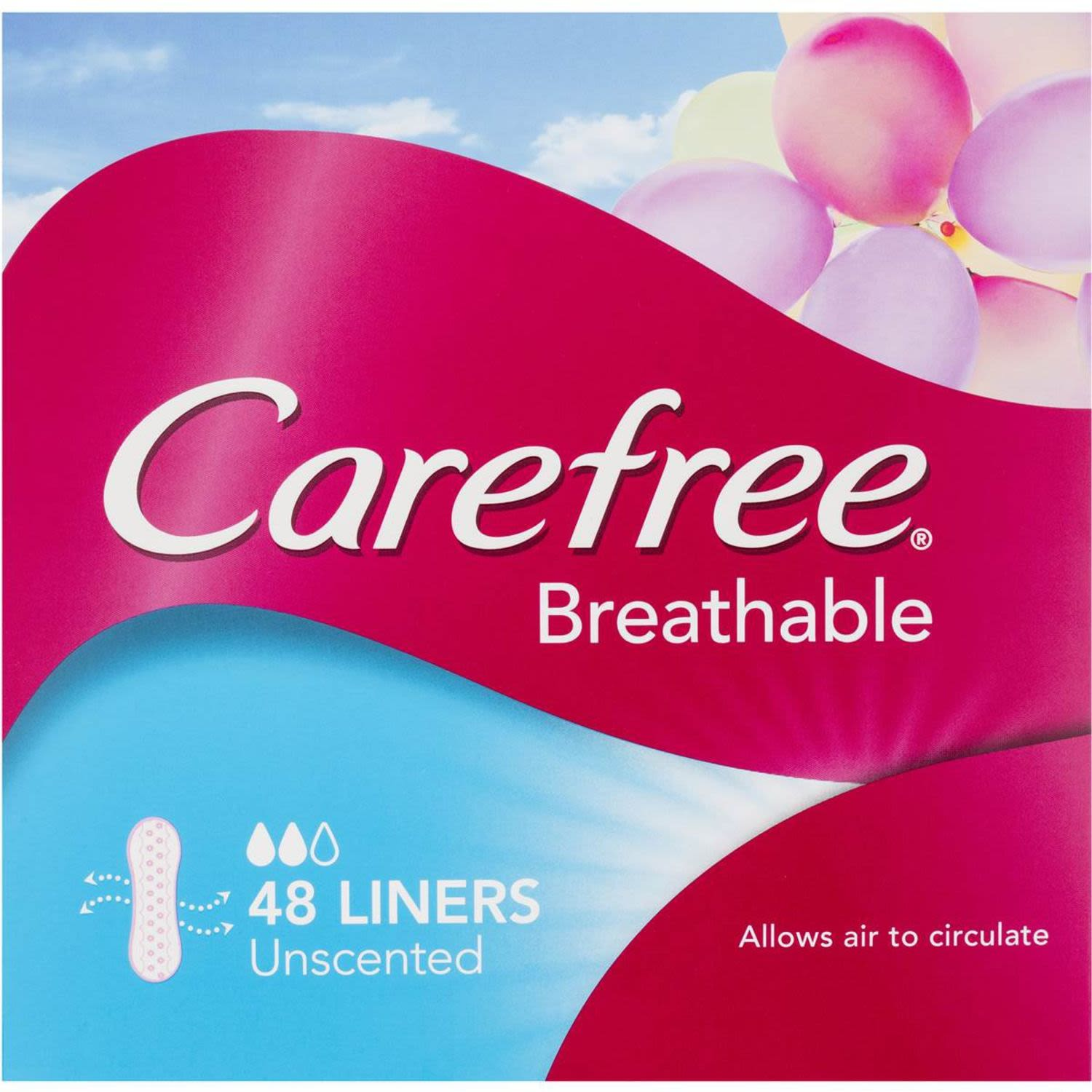 Carefree Panty Liners Breathable, 48 Each