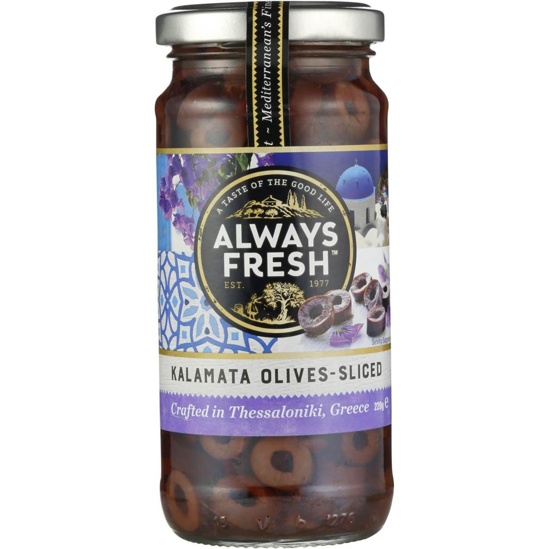 Always Fresh Kalamata Olives Sliced, 220 Gram