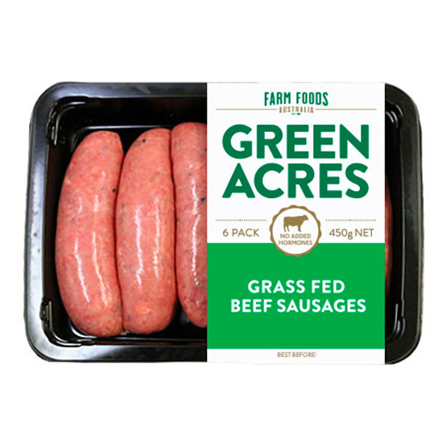 Green Acres Grass Fed Beef Sausages (6 Pack), 450 Gram
