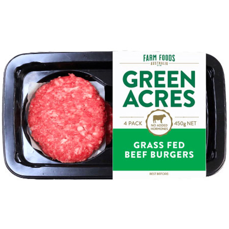 Green Acres Grass Fed Beef Burgers, 450 Gram