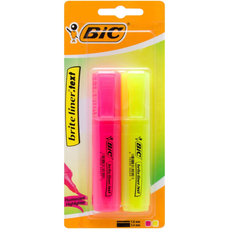 BIC Brite Liner Grip Yellow & Pink, 2 Each