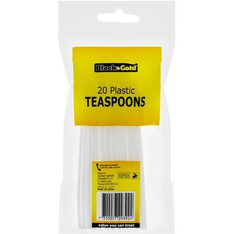 Black & Gold Plastic Teaspoons White, 20 Each