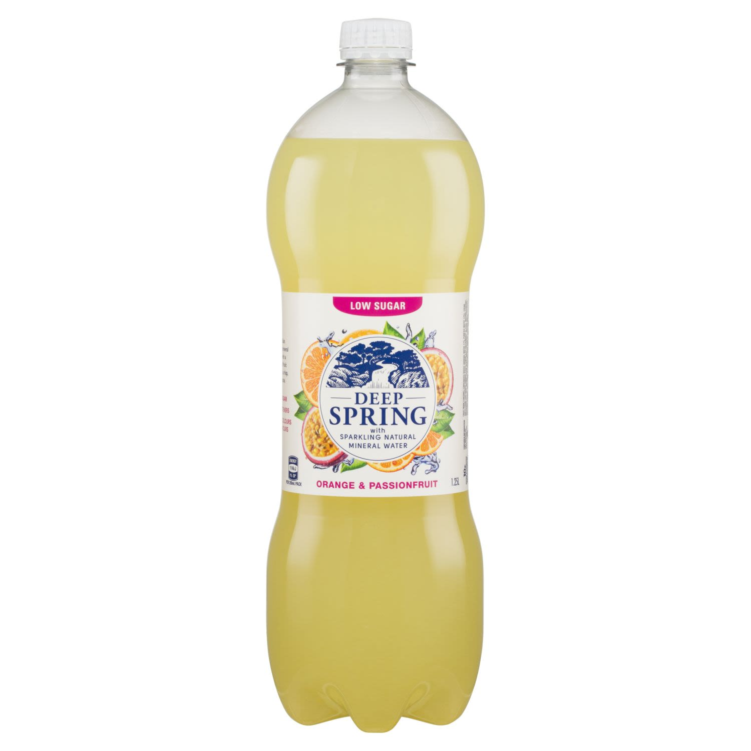 Deep Spring With Sparkling Natural Mineral Water Orange & Passionfruit, 1.25 Litre
