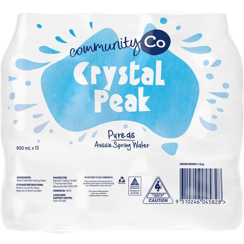 Community Co Crystal Peaks Spring Water 600ml, 12 Each