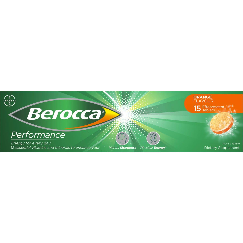 Berocca Vitamin B & C Orange Flavour Energy Effervescent Tablets, 15 Each