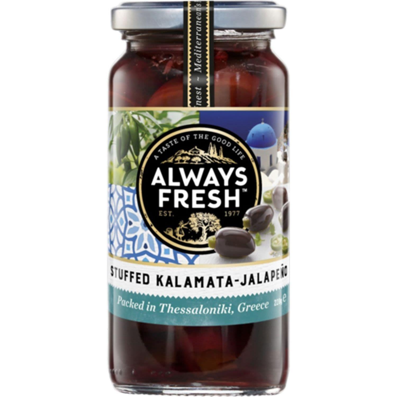 Always Fresh Kalamata Olives Jalapeno Stuffed, 220 Gram