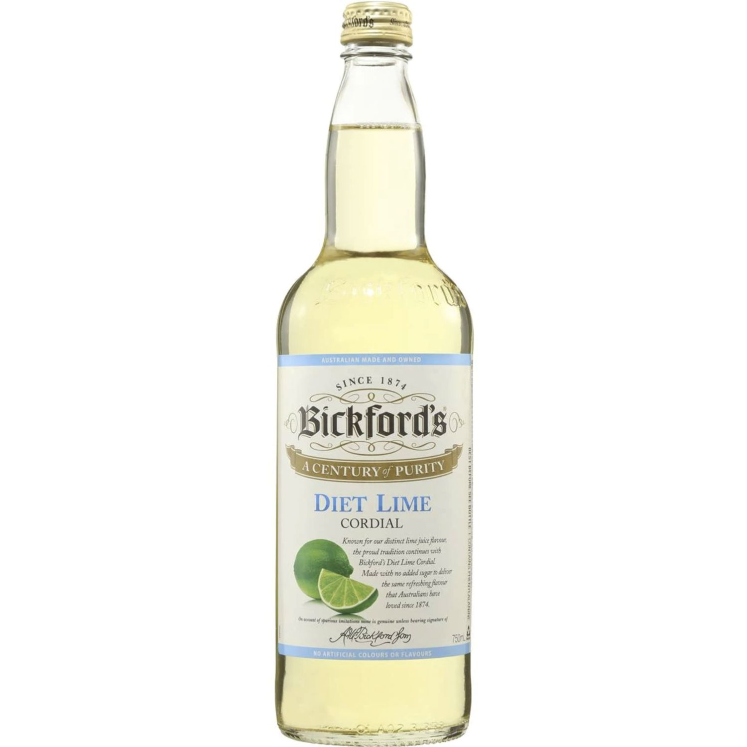 Bickford's Diet Lime Cordial, 750 Millilitre