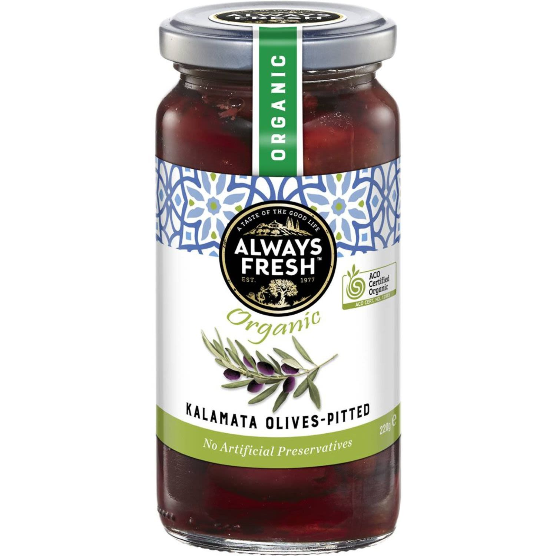 Always Fresh Kalamata Olives Pitted Organic, 220 Gram