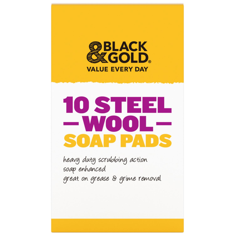 Black & Gold Steel Soap Pads, 10 Each