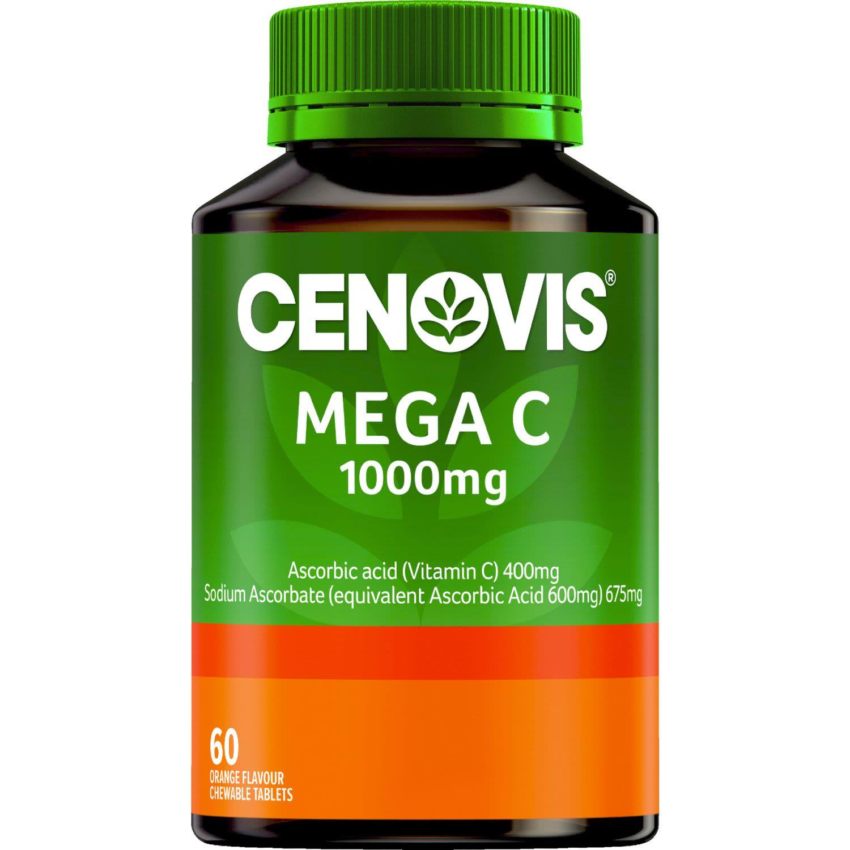 Cenovis Mega C 1000mg Chewable Tablets Orange Flavour, 60 Each