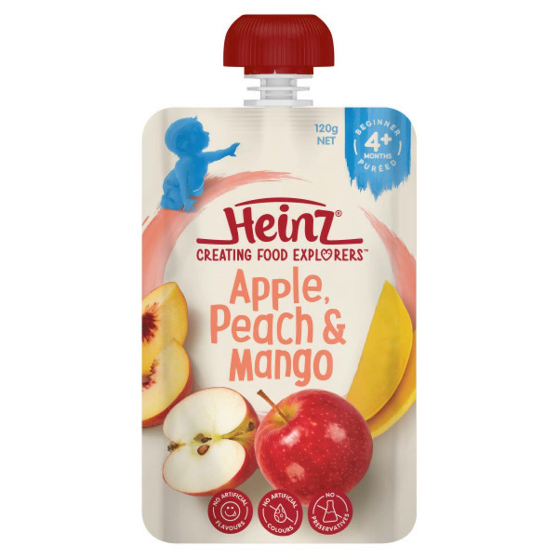 Heinz Apple, Peach & Mango Baby Food Pouch 4+ months, 120 Gram