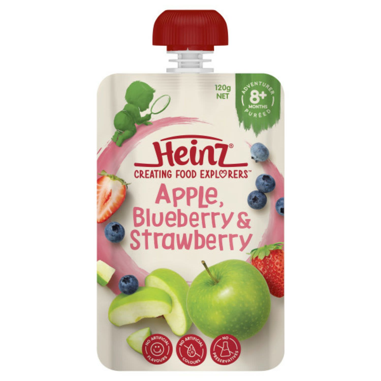 Heinz 8 Months+ Apple, Blueberry & Strawberry, 120 Gram