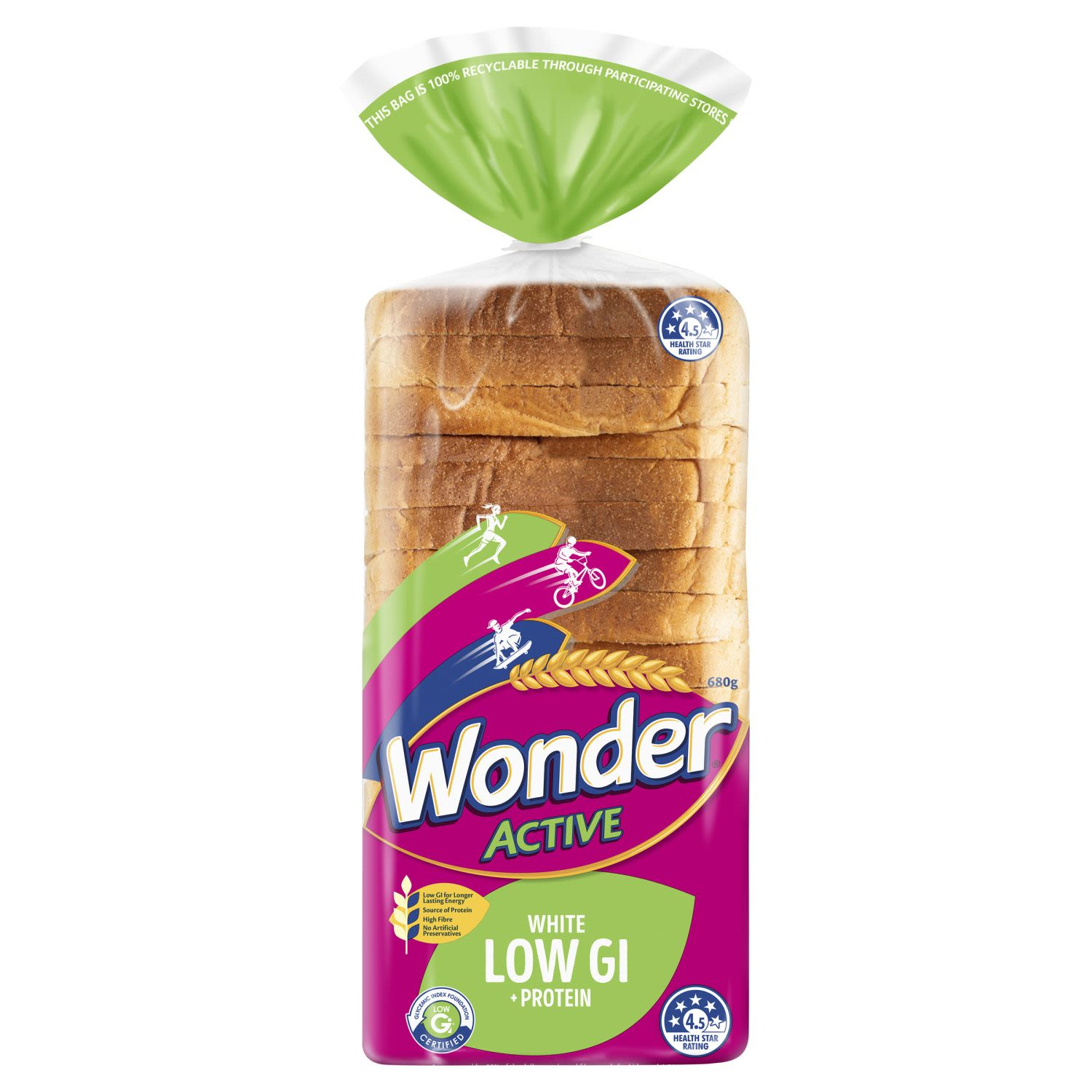 Wonder Active Low GI + Protein contains high fibre and certified low GI for longer lasting energy to help prepare kids for an action-packed day. High Fibre white sliced bread.   Certified Low GI for longer lasting energy to help prepare kids for an action-packed day. Wonder Active is seriously good energy for active kids.  - No added sugar. - High in fibre. - No artificial preservatives. - Soft white  Low GI + Protein Low GI  Fuels active bodies and helps kids stay fuller for longer. Protein  Critical for growth and development of kids bones. Fibre High in fibre to help support digestive health.