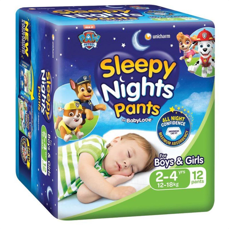 Babylove Sleepy Nights 2-4 Years Overnight Pants, 12 Each