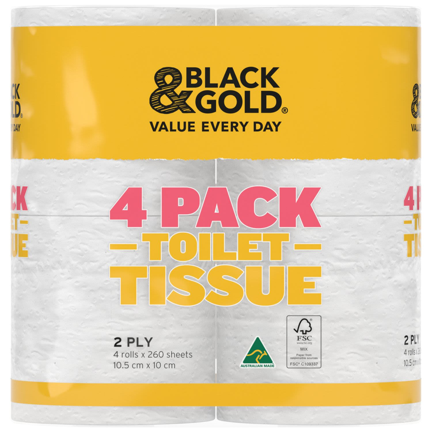 Black & Gold Toilet Roll 2ply, 4 Each