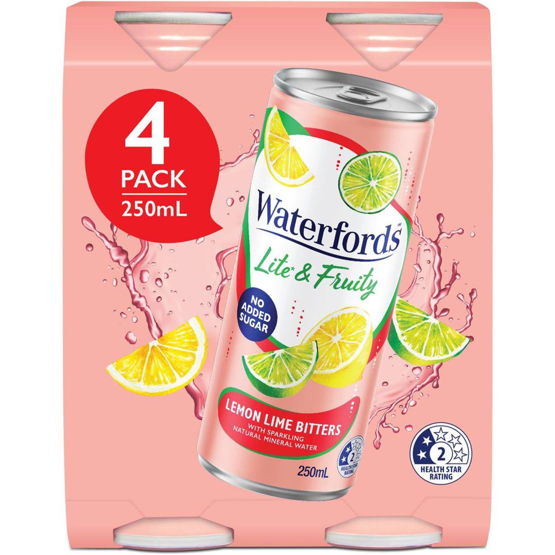 Waterfords Lite & Fruity Lemon Lime Bitters, 4 Each