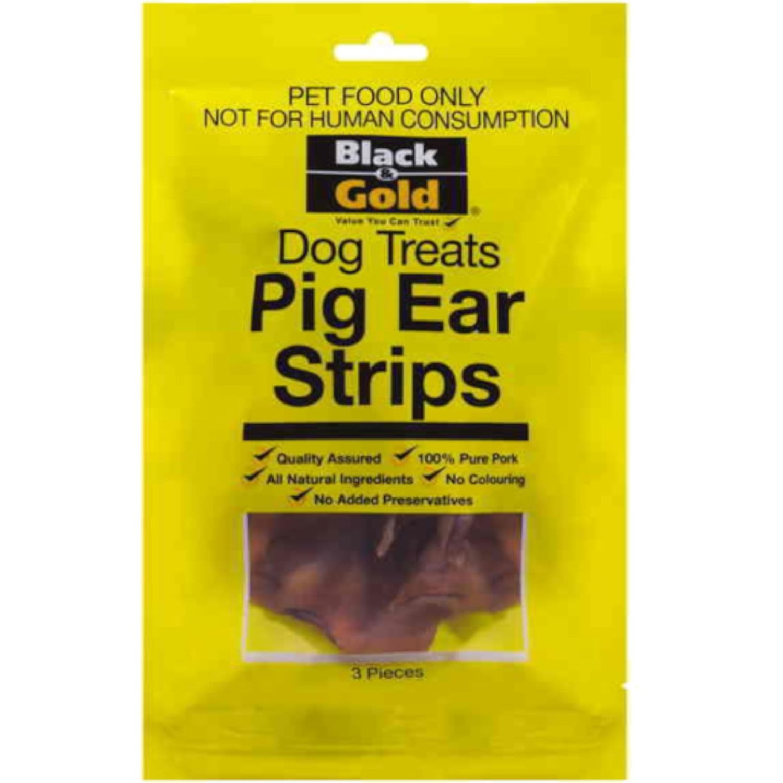 Black & Gold Pig Ear Strips, 3 Each