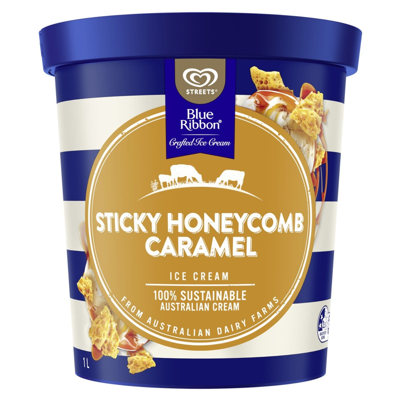 Blue Ribbon Ice Cream Sticky Honeycomb Caramel , 1 Litre