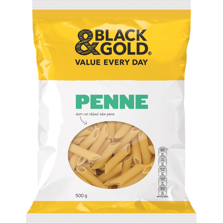 Black & Gold Penne, 500 Gram