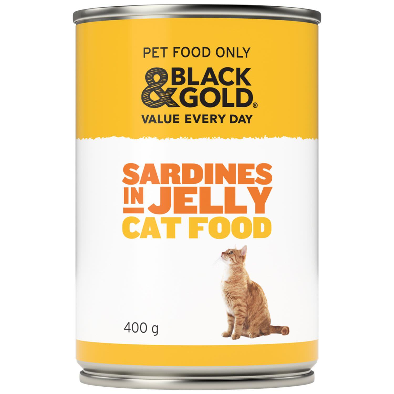 Black & Gold Cat Food Sardines, 400 Gram