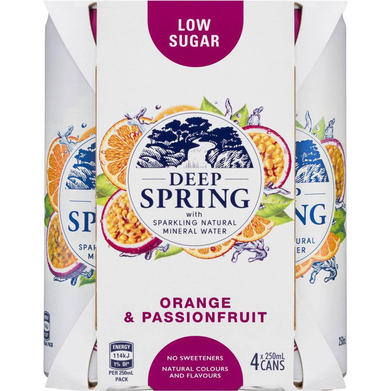 Deep Spring Sparkling Mineral Water Orange & Passionfruit, 4 Each