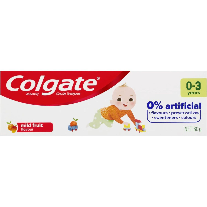 Colgate Kids Anticavity Fluoride Toothpaste 0-3 Yrs Mild Fruit, 80 Gram