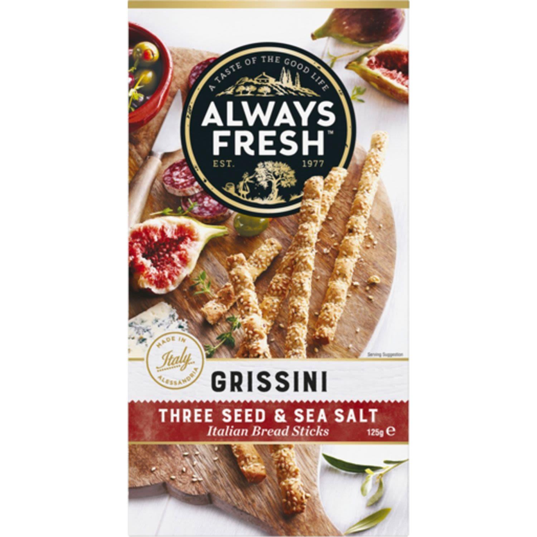 Always Fresh Grissini Crispbread Three Seed And Sea Salt, 125 Gram