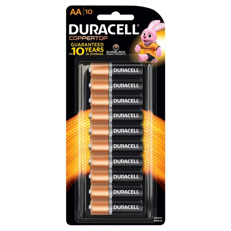 Duracell Coppertop Batteries AA 10 Pack, 10 Each