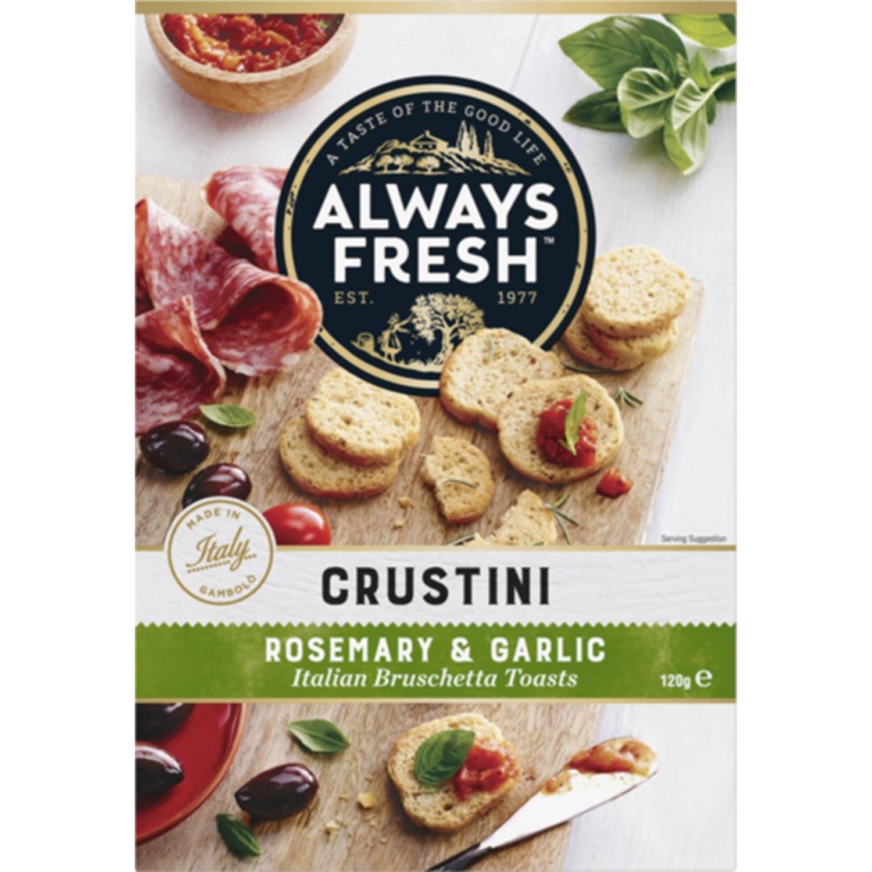 Always Fresh Crustini Crispbread Rosemary & Garlic, 120 Gram