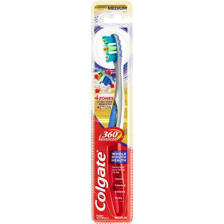 Colgate 360 Degrees Advanced Plaque Removal Toothbrush Medium, 1 Each