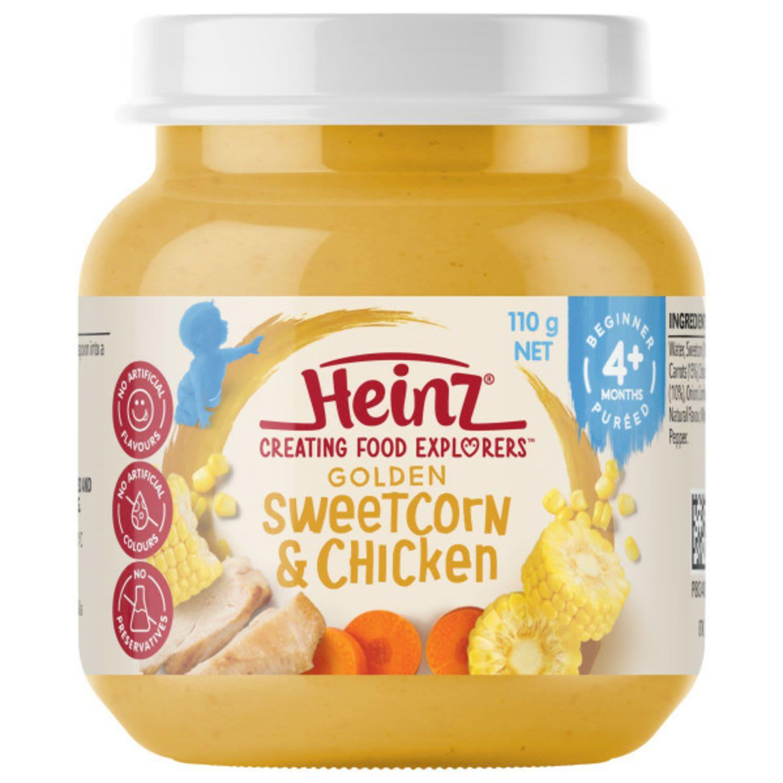 Heinz Golden Sweetcorn & Chicken Baby Food Jar 4+ months, 110 Gram