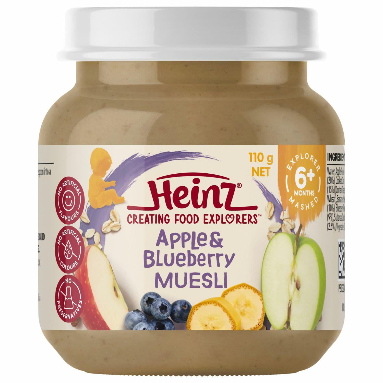 Heinz Apple & Blueberry Muesli Baby Food Jar 6+ months, 110 Gram