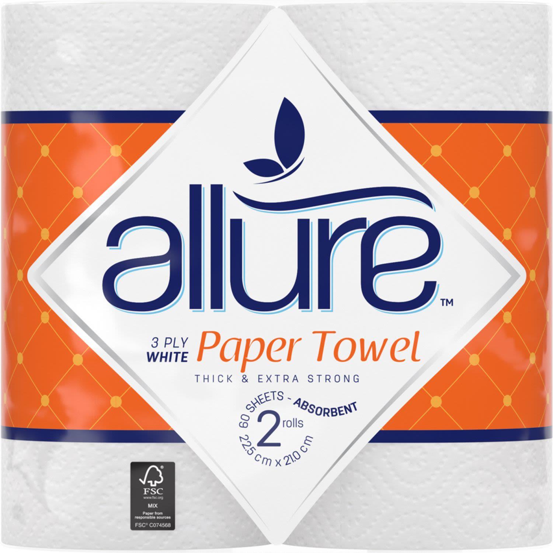 Allure Paper Towel 3 Ply, 2 Each