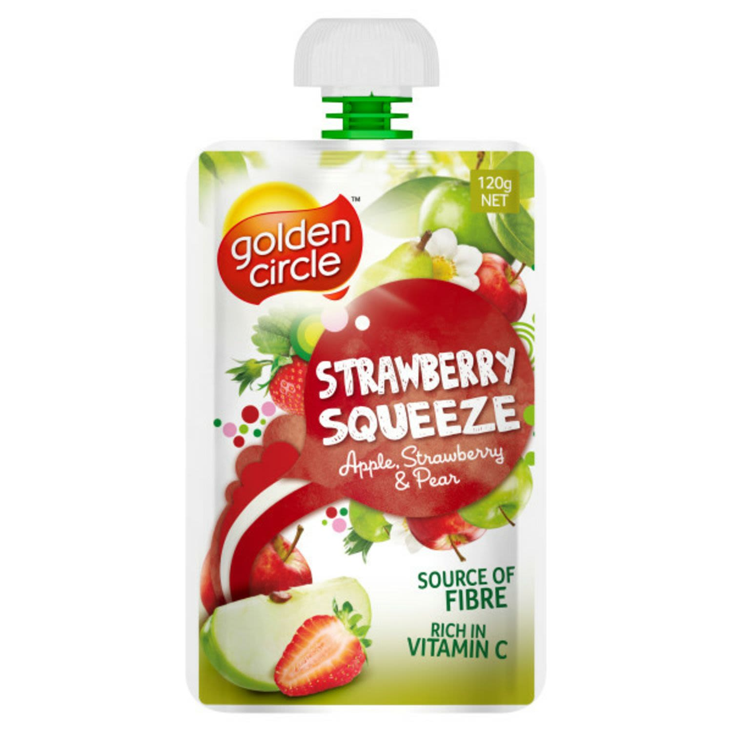 Golden Circle Strawberry Squeeze Apple, Strawberry & Pear Pouch, 120 Gram
