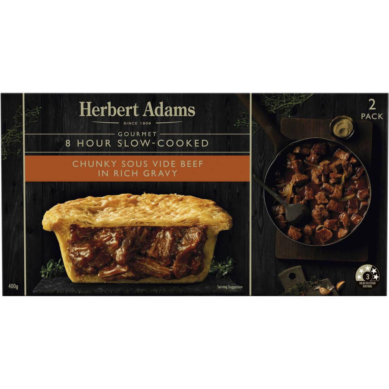 Herbert Adams Pies Chunky Slow Cooked Beef, 2 Each