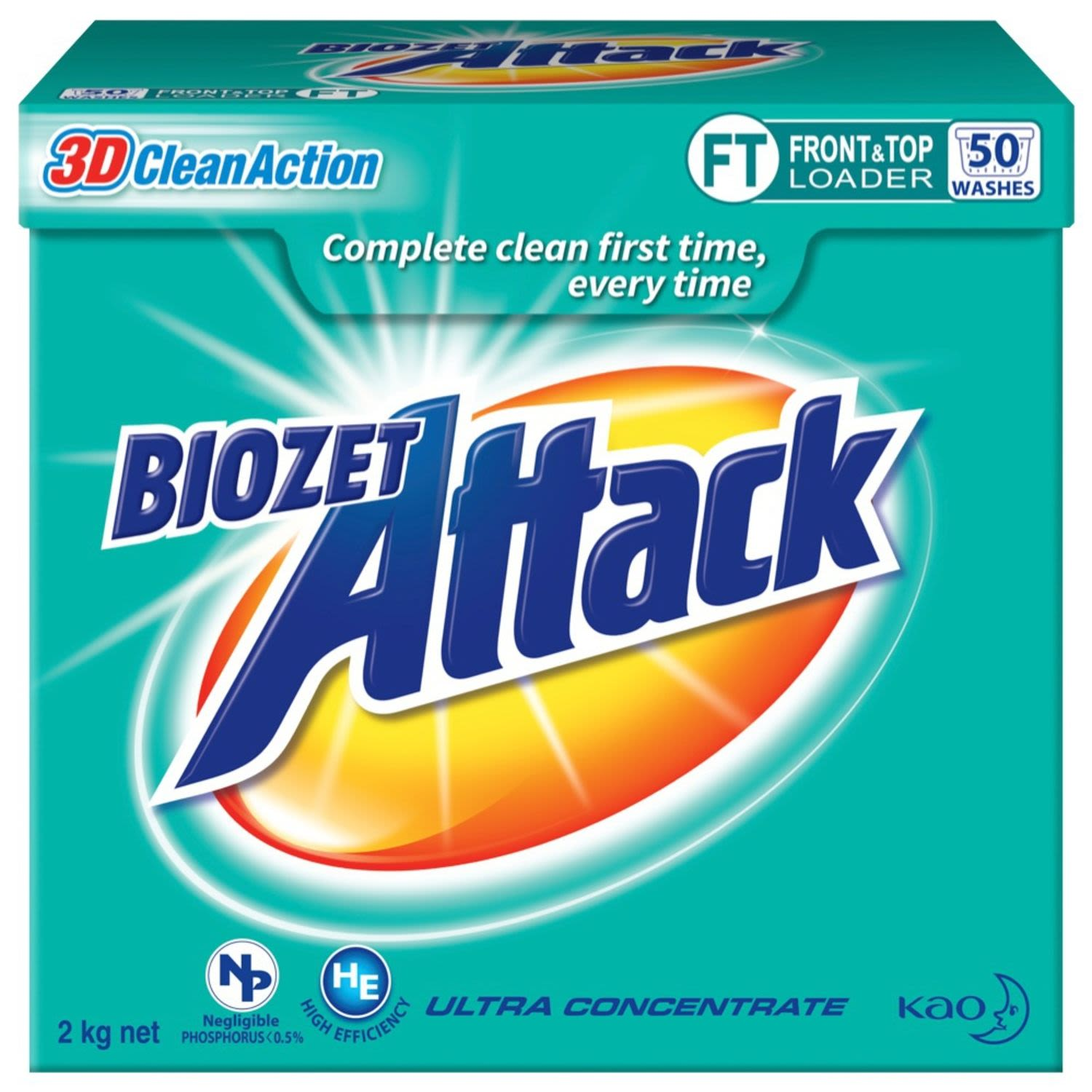 Biozet Attack 3D Clean Action Front and Top Loader Laundry Powder, 2 Kilogram