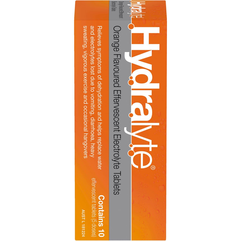 Hydralyte Effervescent Electrolyte Tablets Orange, 10 Each