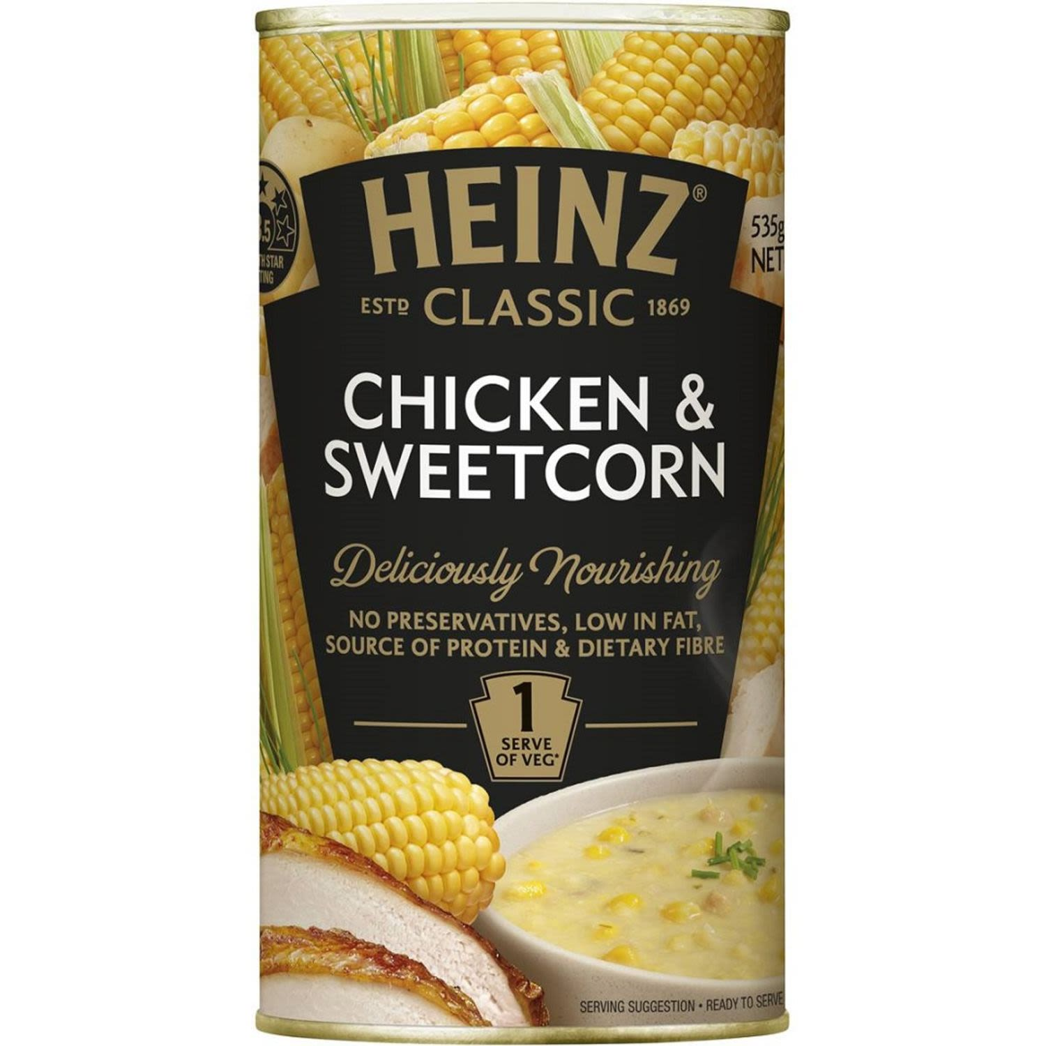 Heinz Classic Canned Soup Chicken & Sweetcorn, 535 Gram