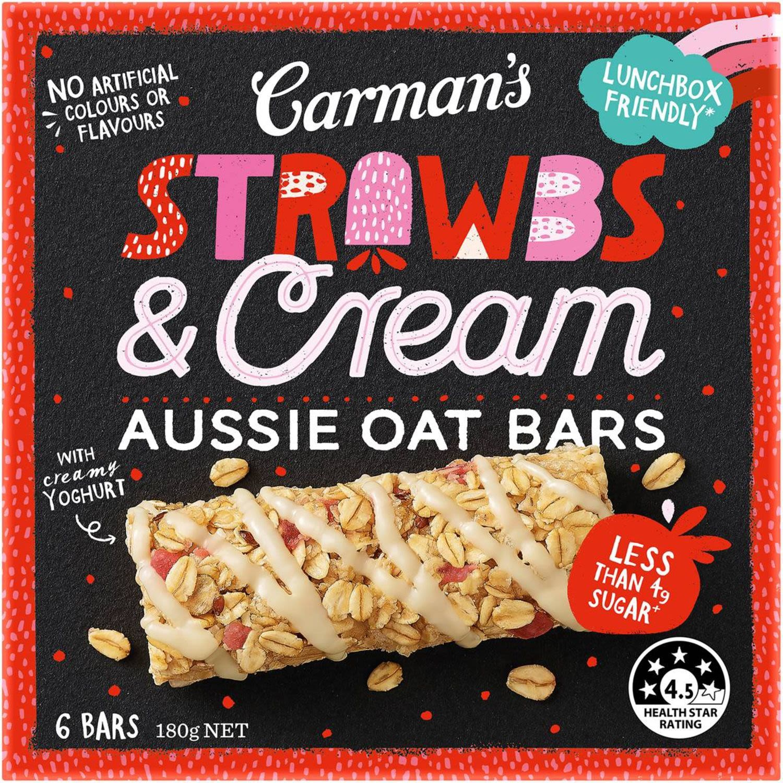 Carman's Aussie Oat Bar Strawberry & Cream, 5 Each