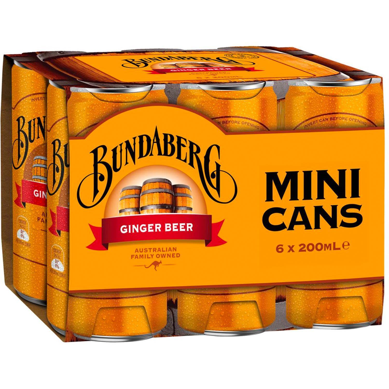 Bundaberg Ginger Beer Mini Can, 6 Each