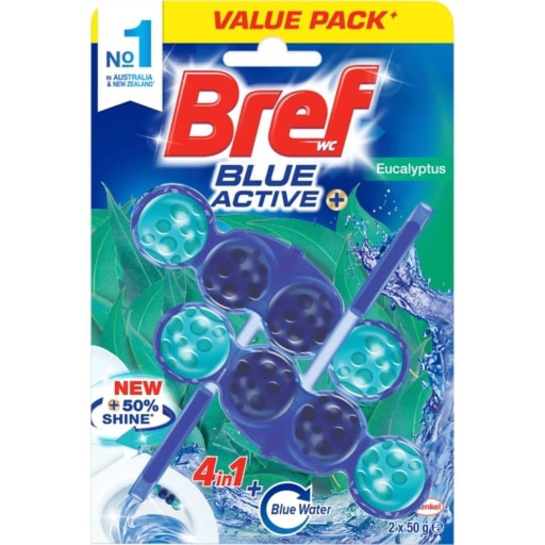 Bref Blue Active Eucalyptus Rim Block Toilet Cleaner, 2 Each