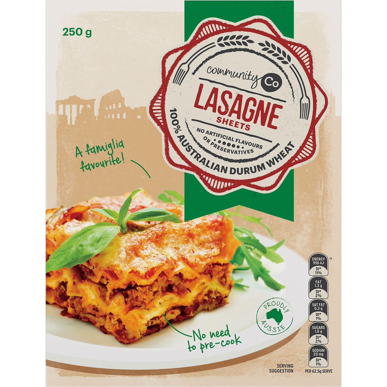 Community Co Pasta Lasagne, 250 Gram