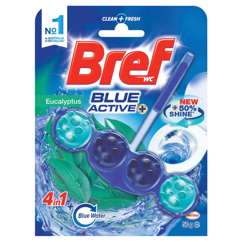 Bref Blue Active Eucalyptus, Rim Block Toilet Cleaner, 50 Gram