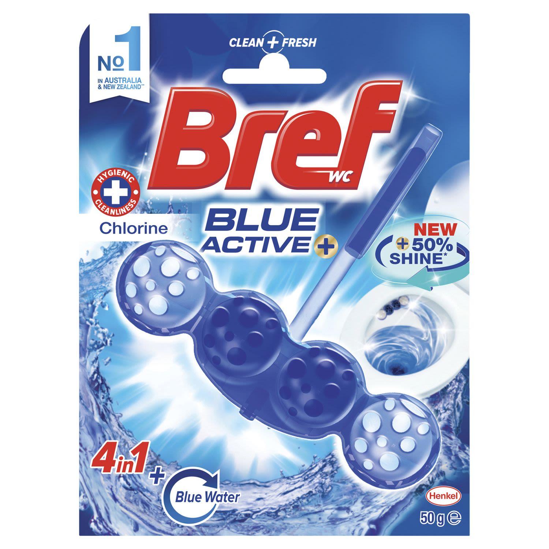 Bref Blue Active Chlorine Rim Block Toilet Cleaner, 1 Each