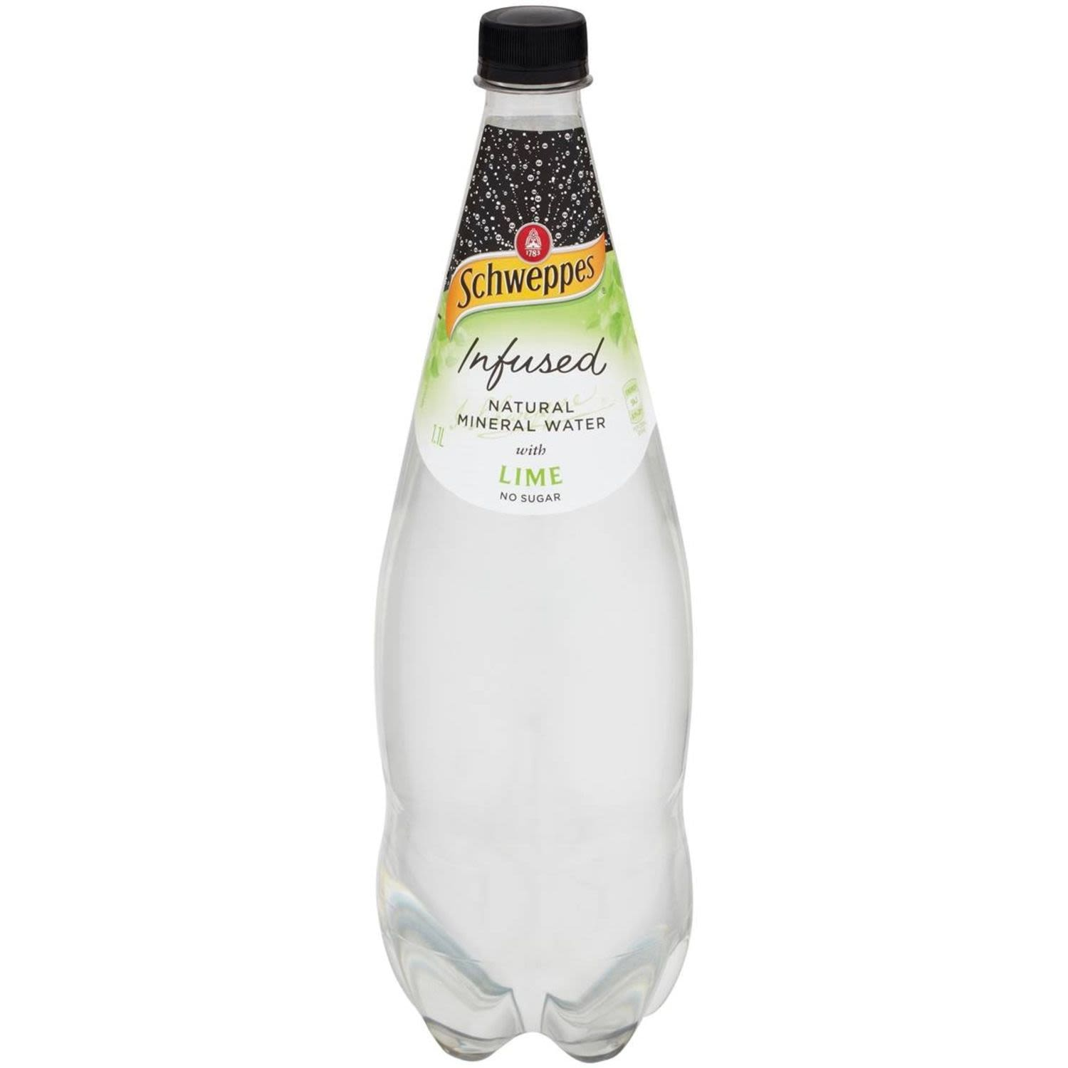 Schweppes Infused Natural Mineral Water With Lime, 1.1 Litre