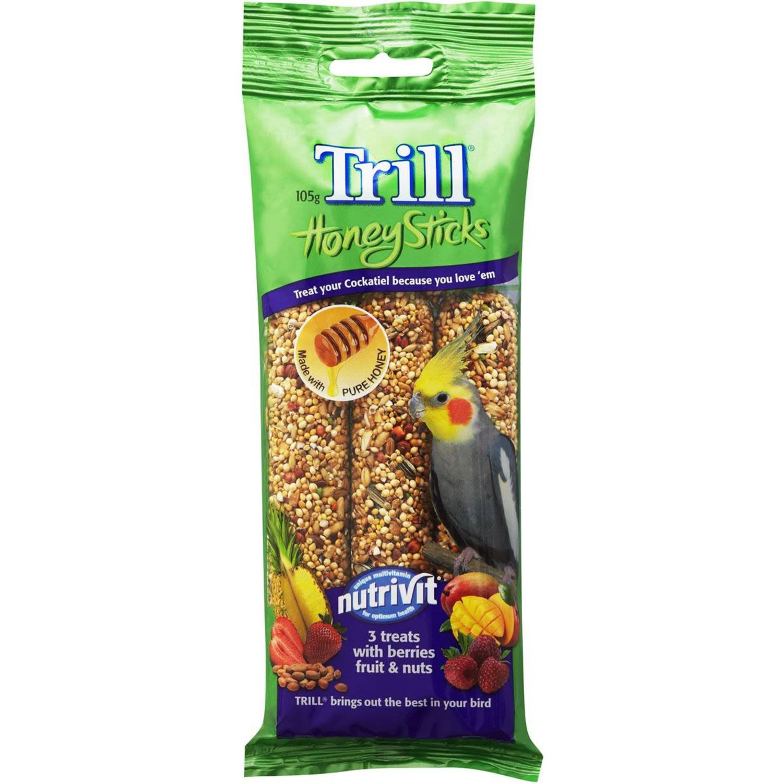 Trill Honey Sticks Dry Bird Treats With Berries Fruit & Nuts, 105 Gram